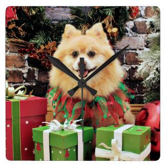 Christmas - Pomeranian - Sammy Square Wall Clock