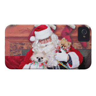 Christmas - Pomeranian - Toby & Andy iPhone 4 Case