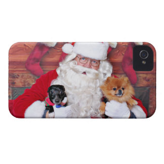 Christmas - Pomeranian & X Breed - Sparky & Evan iPhone 4 Case-Mate Case