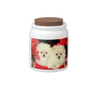 Christmas Pomeranians Dog Treat Candy Jar