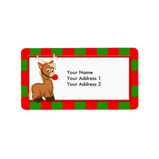 Christmas Pony with Reindeer Antlers and Nose Personalized Address Label