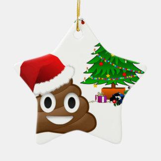 christmas poo emoji ceramic ornament