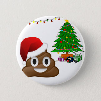 christmas poo emoji pinback button