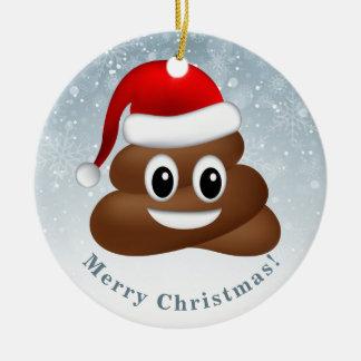 christmas poo emoji with santa hat ceramic ornament