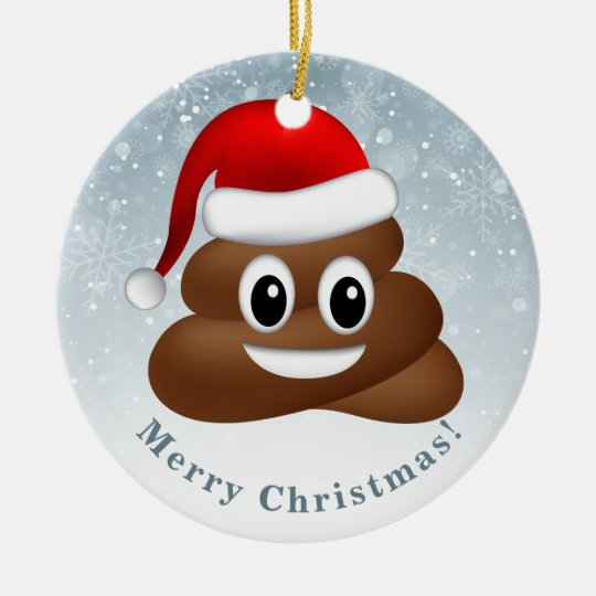 Christmas Emoji.Christmas Poo Emoji With Santa Hat Ceramic Ornament
