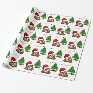 christmas poo emoji wrapping paper
