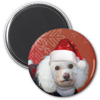 Christmas poodle 2 inch round magnet