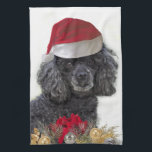 """Christmas poodle kitchen towel<br><div class=""""desc"""">add text or star over and upload your own image</div>"""