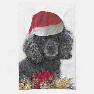 Christmas poodle kitchen towel