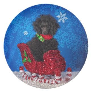 Christmas Poodle Melamine Plate