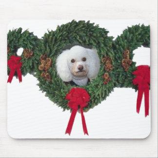 Christmas poodle mousepad