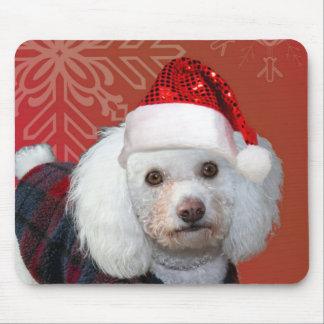 Christmas poodle mousepads