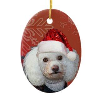 Christmas poodle ornament ornament