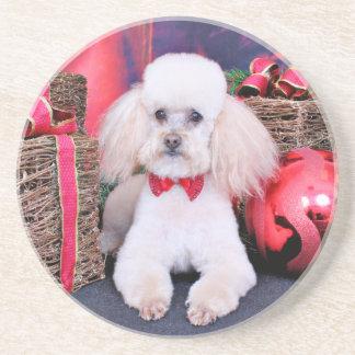 Christmas - Poodle - Spanky Beverage Coaster