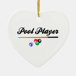 Christmas Pool Player Ceramic Ornament