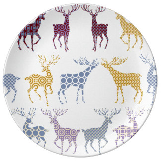 Christmas Deer Plates  Zazzle