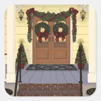 Christmas Porch Square Sticker