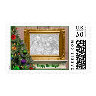 Christmas Portrait on Mantelpiece Postage