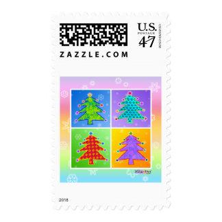 Christmas Postage - Pop Art Christmas Trees