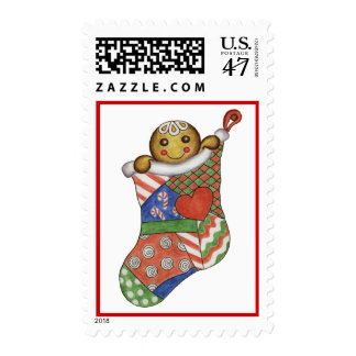 Christmas Postage Stamp Peeking Gingerbread Boy