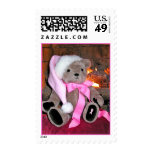 Christmas Postage Stamp-Teddy bear in pink hat