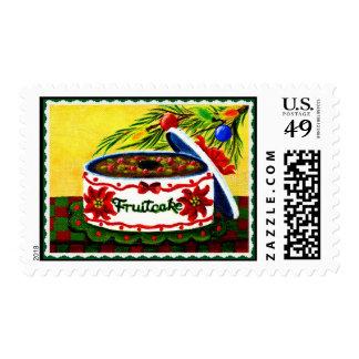 Christmas postage stamps,fruitcake,tree