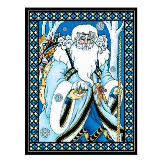 Christmas Postcard:   Father Christmas with Gifts