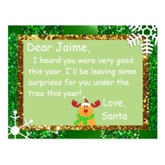 Christmas Postcard from Santa to a child