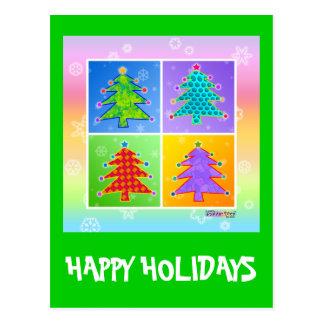 Christmas Postcard - Pop Art Christmas Trees