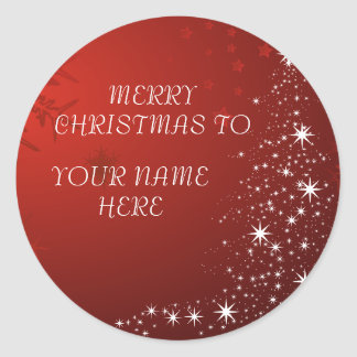 Christmas Postcard with Custom Name  -Add your own Classic Round Sticker