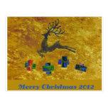 Christmas postcard with reindeer