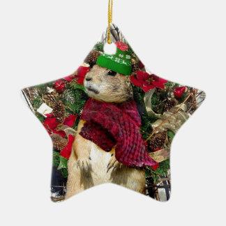 Christmas  Prairie Dog Ceramic Ornament