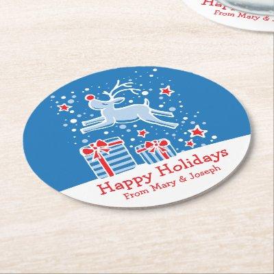 Christmas prancing reindeer art paper coasters round paper coaster