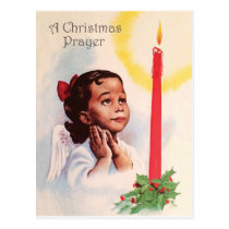 Christmas prayer, little angel girl with candle postcard