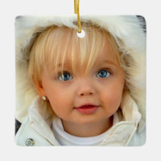 Christmas Precious Toddler on Square Ornament