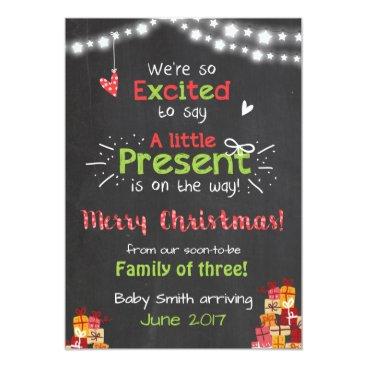 Christmas Themed Christmas pregnancy announcement card chalkboard