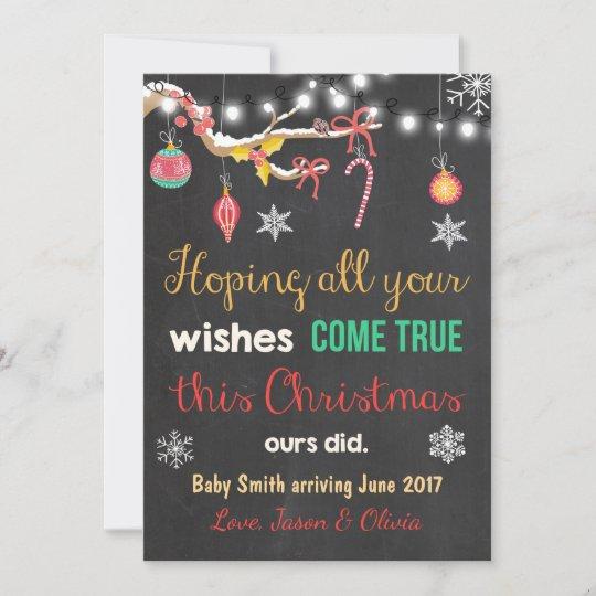 cb95a22566323 Christmas pregnancy announcement card chalkboard | Zazzle.com