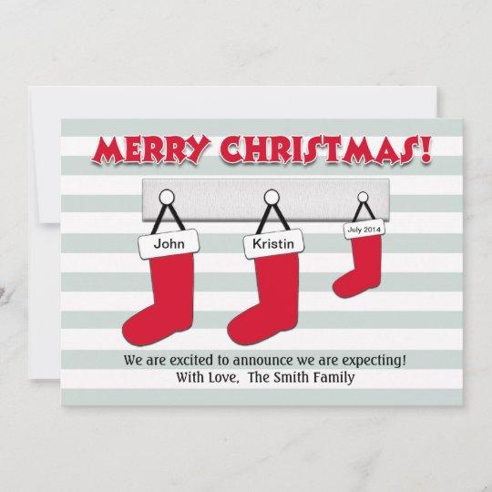 christmas pregnancy announcement card stockings zazzle com