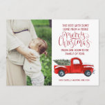 """Christmas Pregnancy Announcement - Vintage Truck<br><div class=""""desc"""">""""Joy to the World"""" takes on quite a new meaning when couples find out they're expecting. The only thing left to do is share the big news with family and friends. Pregnancy Announcement Cards are one of the most popular ways to share your big news, especially if the list of...</div>"""