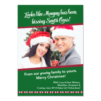 Christmas Pregnancy Photo Announcement Card- Mommy