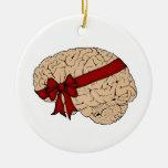 Christmas Present Brain Double-Sided Ceramic Round Christmas Ornament