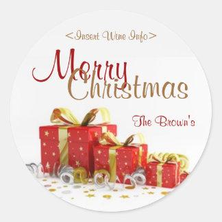 Christmas Present Customized Wine Label Round Stickers