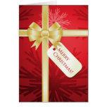 Christmas Present Golden Bow card