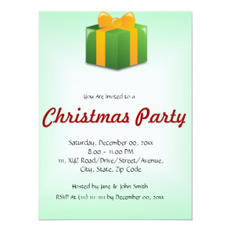 "Christmas Present on a Green Background 5.5"" X 7.5"" Invitation Card"