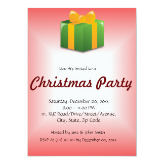 "Christmas Present on a Red Background 5.5"" X 7.5"" Invitation Card"