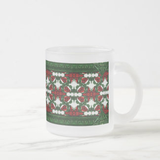 Christmas Present Pattern Frosted Glass Coffee Mug
