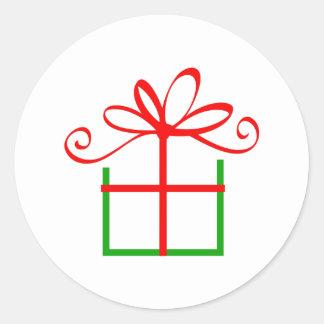 CHRISTMAS PRESENT CLASSIC ROUND STICKER