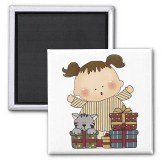 christmas presents girl tot 2 inch square magnet