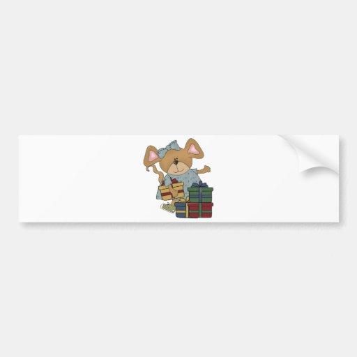 christmas presents mouse car bumper sticker