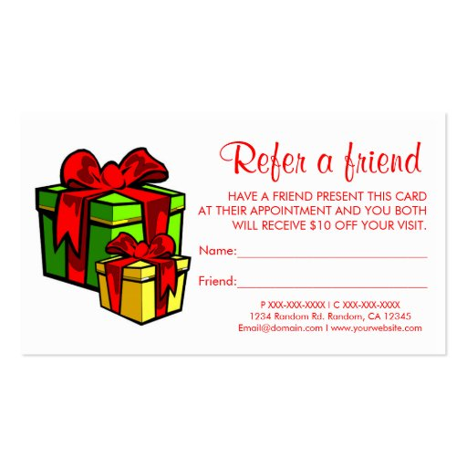 Christmas presents refer a friend business cards zazzle for Refer a friend business cards